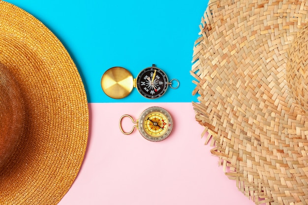 Compass and straw hat, top view