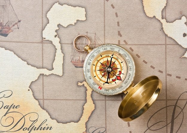 Compass on a stylized map
