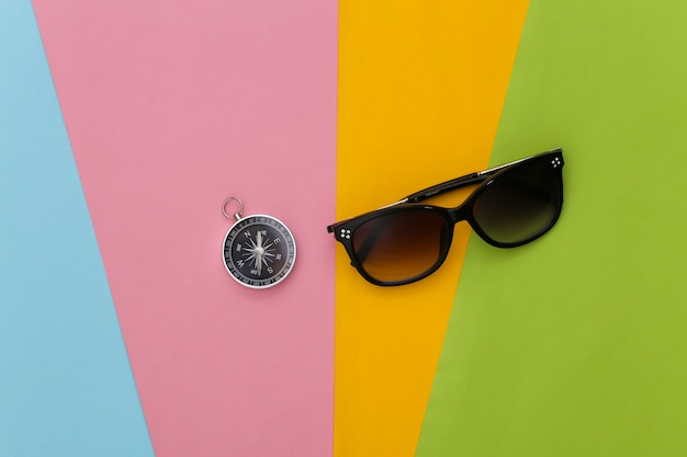 Compass and sunglasses