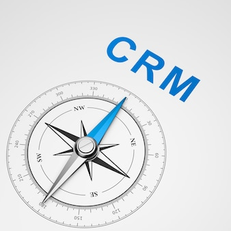 Compass on white background, crm concept