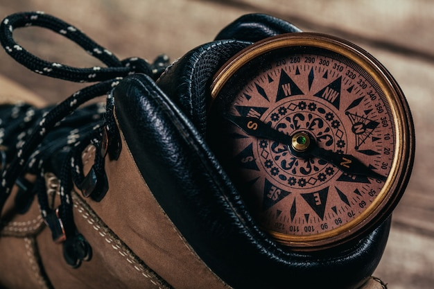 Compass with hiking-boots