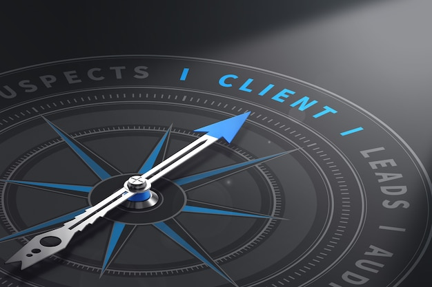 Compass with needle pointing the word client. customer relationship management. 3d illustration