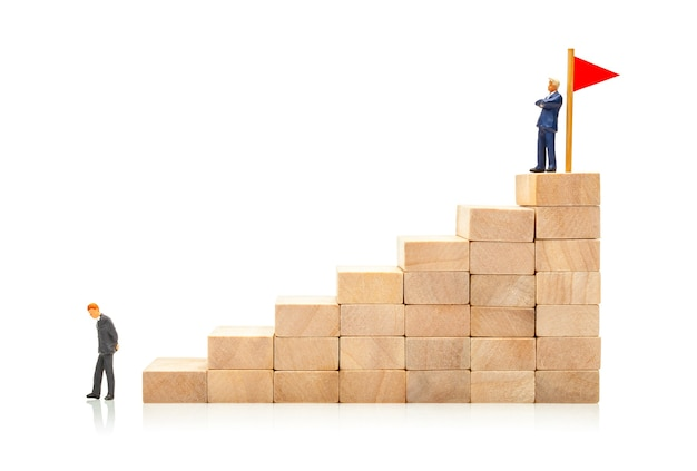 Competition in business concept of how to achieve a goal and get around a competitor