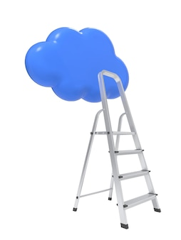 Competition concept, cloud with ladders on white.