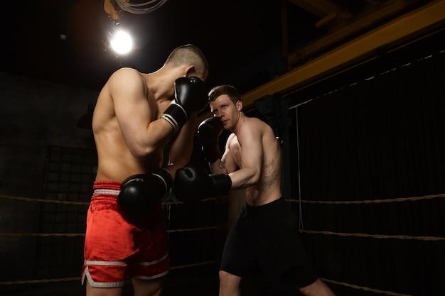 경쟁, 경쟁, 사람 및 스포츠 개념. 문신과 붉은 바지에 인식 할 수없는 남성과 싸우는 근육 팔을 가진 심각한 자기 확신 젊은 백인 남자. 두 전투기 권투