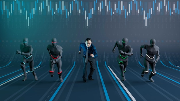 Competition between robot a.i.  and businessman in trading stock market