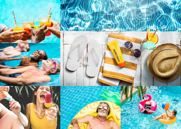 Compilation of summer vacation themed images