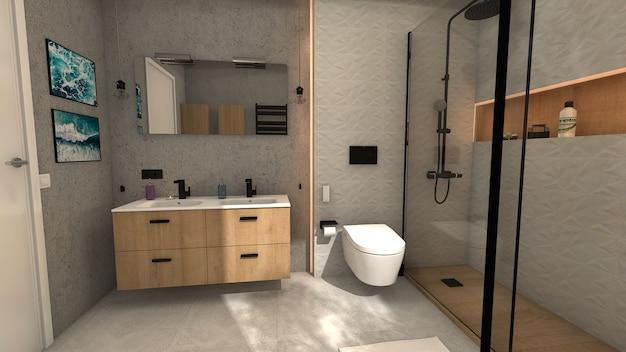 Полная ванная комната с душем и двойной раковиной