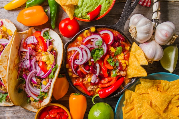 Complete mexican food composition