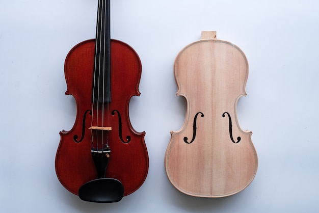 Completed violin and raw violin
