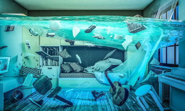 Completely flooded children's room 3d