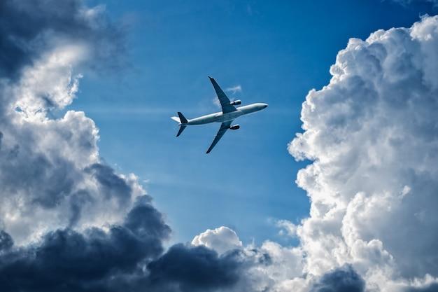 複雑な飛行条件-飛行機は嵐の雲、雨天、嵐の前線を飛行します。空気の安全性の概念。コピースペースのための空の場所。
