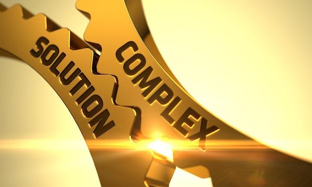 Complex solutionon golden metallic cog gears. complex solution - concept. complex solution on mechanism of golden metallic gears with lens flare. 3d render.