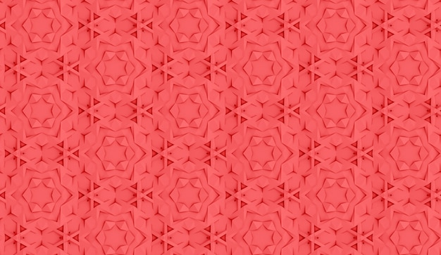 Complex volumetric seamless pattern living coral color 3d illustration