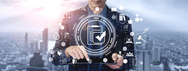 Графический интерфейс нормативно-правового регулирования нормативно-правового соответствия для политики качества бизнеса