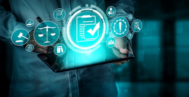 비즈니스 품질 정책에 대한 준수 규칙 법률 및 규정 그래픽 인터페이스