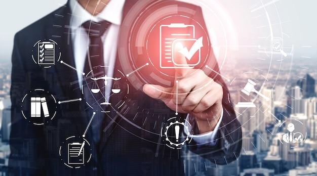 비즈니스 품질 정책을위한 규정 준수 규칙 법률 및 규정 그래픽 인터페이스