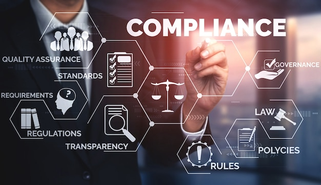 Compliance rule law and regulation graphic interface for business quality policy