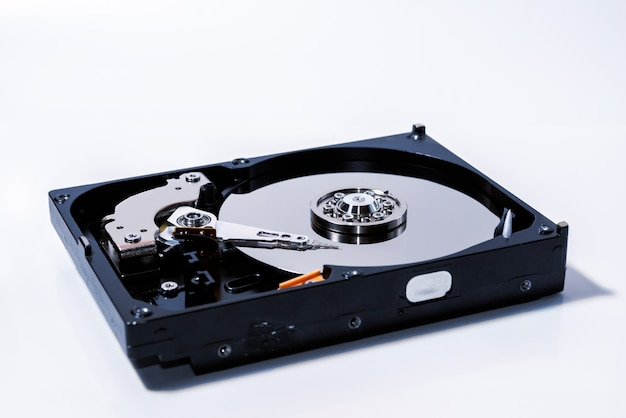 Components for pc. open hard disk storage. magnetic disks inside hdd. recovery and storage of information.