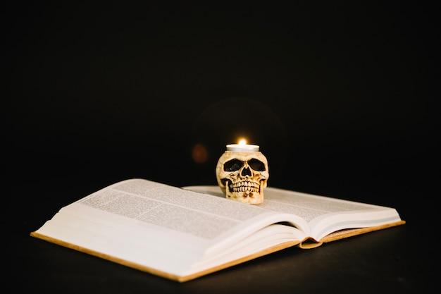 構成された本と頭蓋骨