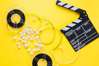 Composed clapboard with reels