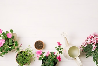 Composed flowerpots with watering pot