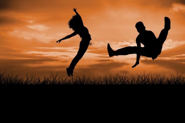 Составное изображение крутого танцора брейк-данса