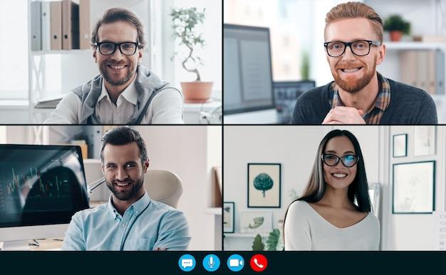 Составное изображение коллег, улыбающихся и общающихся во время видеозвонка
