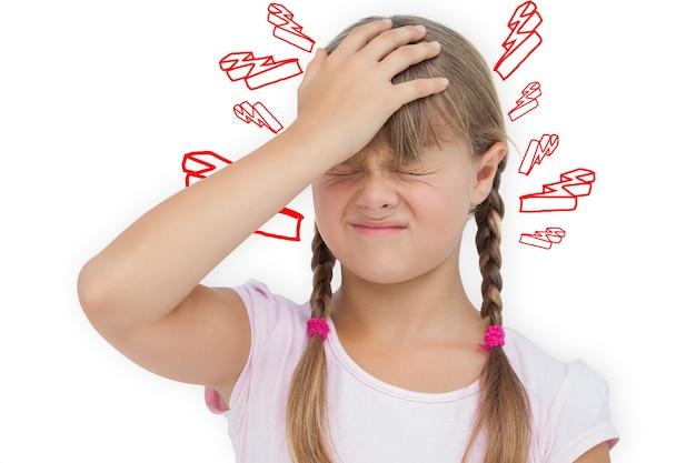 Составное изображение маленькой девочки с головной болью