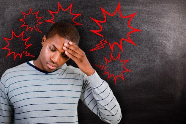 Составное изображение человека с головной болью