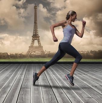 Составное изображение симпатичной блондинки, бегающей трусцой