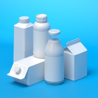 Composition of 5 types of blank milk packaging on the blue surface. 3d illustration