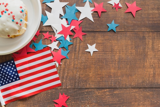 Composition of american flag stars and cake