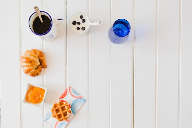 Composition of assorted breakfast on white