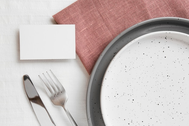 Composition of beautiful tableware on the table