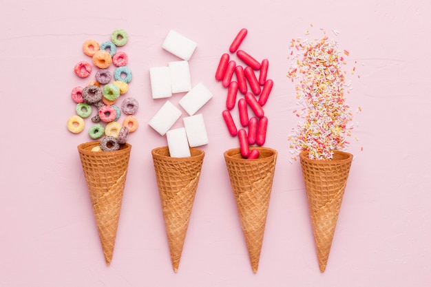 Composition of cereals sugar dressing red pills and ice cream cones