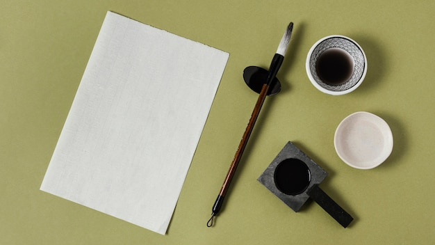 Composition of chinese ink with empty paper