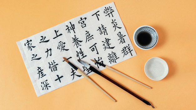 Composition of chinese symbols written with ink