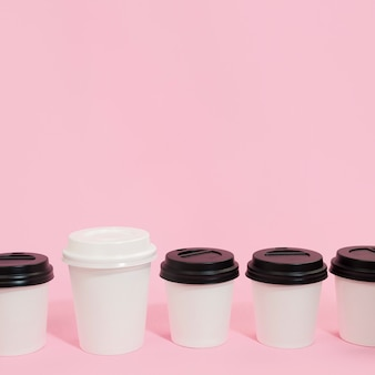 Composition of coffee cups for individuality concept