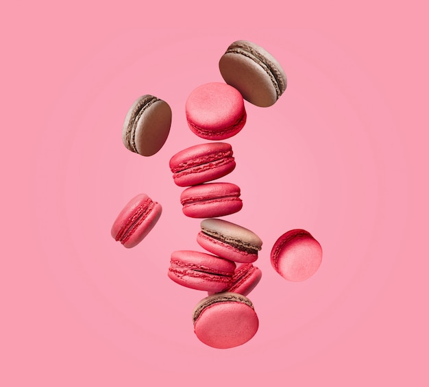 Composition of colorful french cookies macarons
