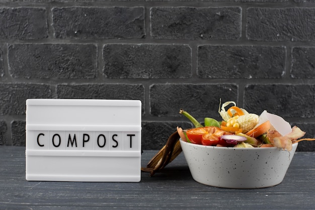 Composition of compost made of rotten food