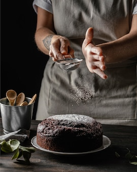 Composition of delicious chocolate cake