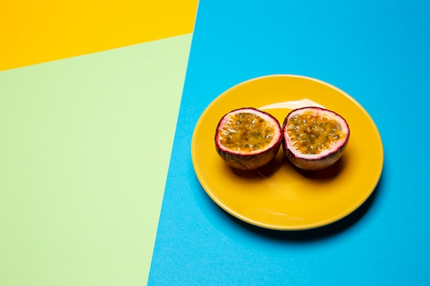 Composition of delicious exotic passion fruit