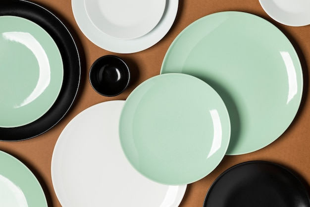 Composition of different colored plates