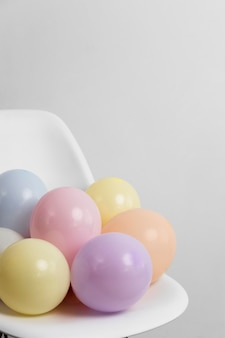 Composition of different festive balloons