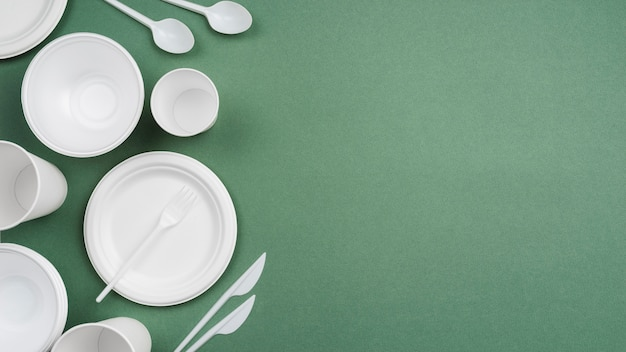 Composition of different plastic tableware