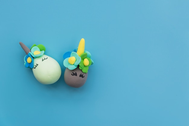 Composition of eggs with funny faces
