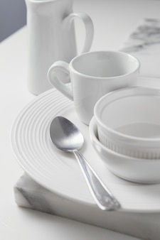 Composition of elegant tableware on the table