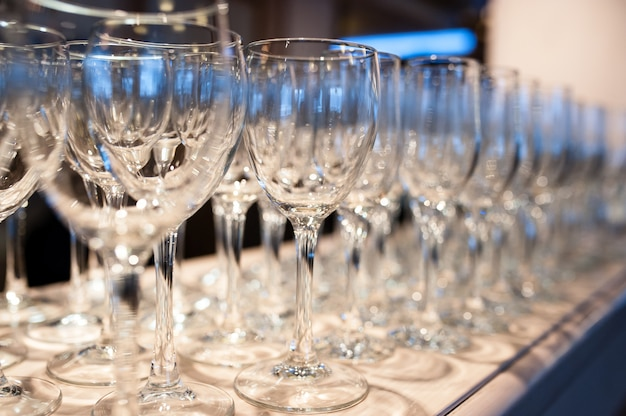 Composition of empty glasses for champagne