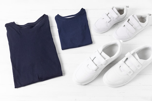 Composition of father and son clothing